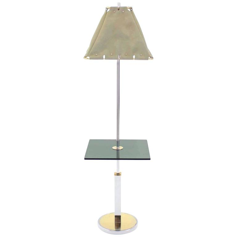Mid-Century Modern Smoked Glass Side Table Floor Lamp
