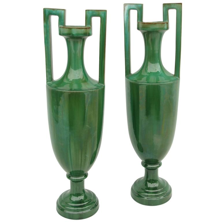 Pair of Green Ceramic Amphoras, circa 1900 For Sale