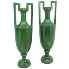 Pair of Green Ceramic Amphoras, circa 1900