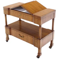 John Widdicomb Rolling Flip Top Server Serving Cart Table