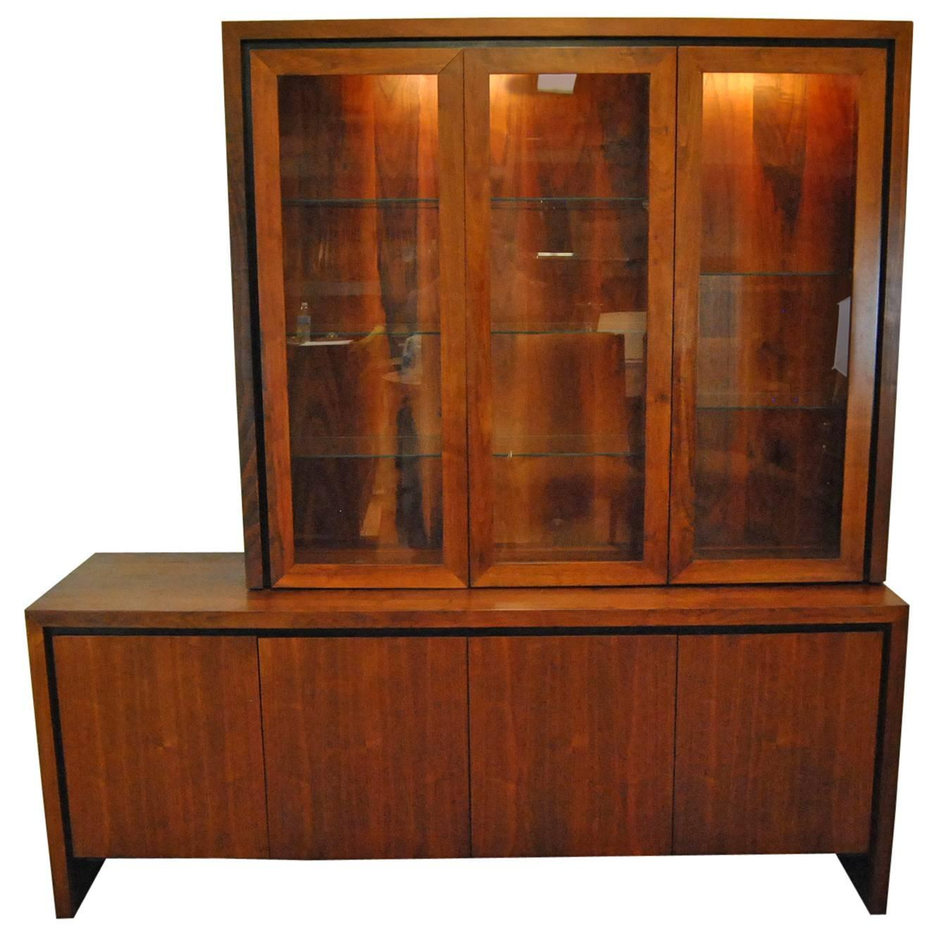 Mid Century Danish Modern Two Pc Teak Buffet China Display