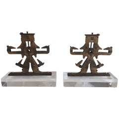 Antique Mechanical Objects on Lucite Stand, Bookends