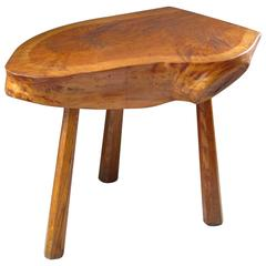 Midcentury Solid Wood Side Table Stool, Style of Charlotte Perriand