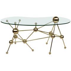 Modern Desk with Glass Top and Gilt Metal
