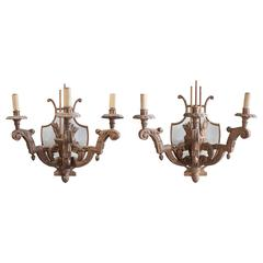 Pair of Argentine Wood Sconces with Mirrors