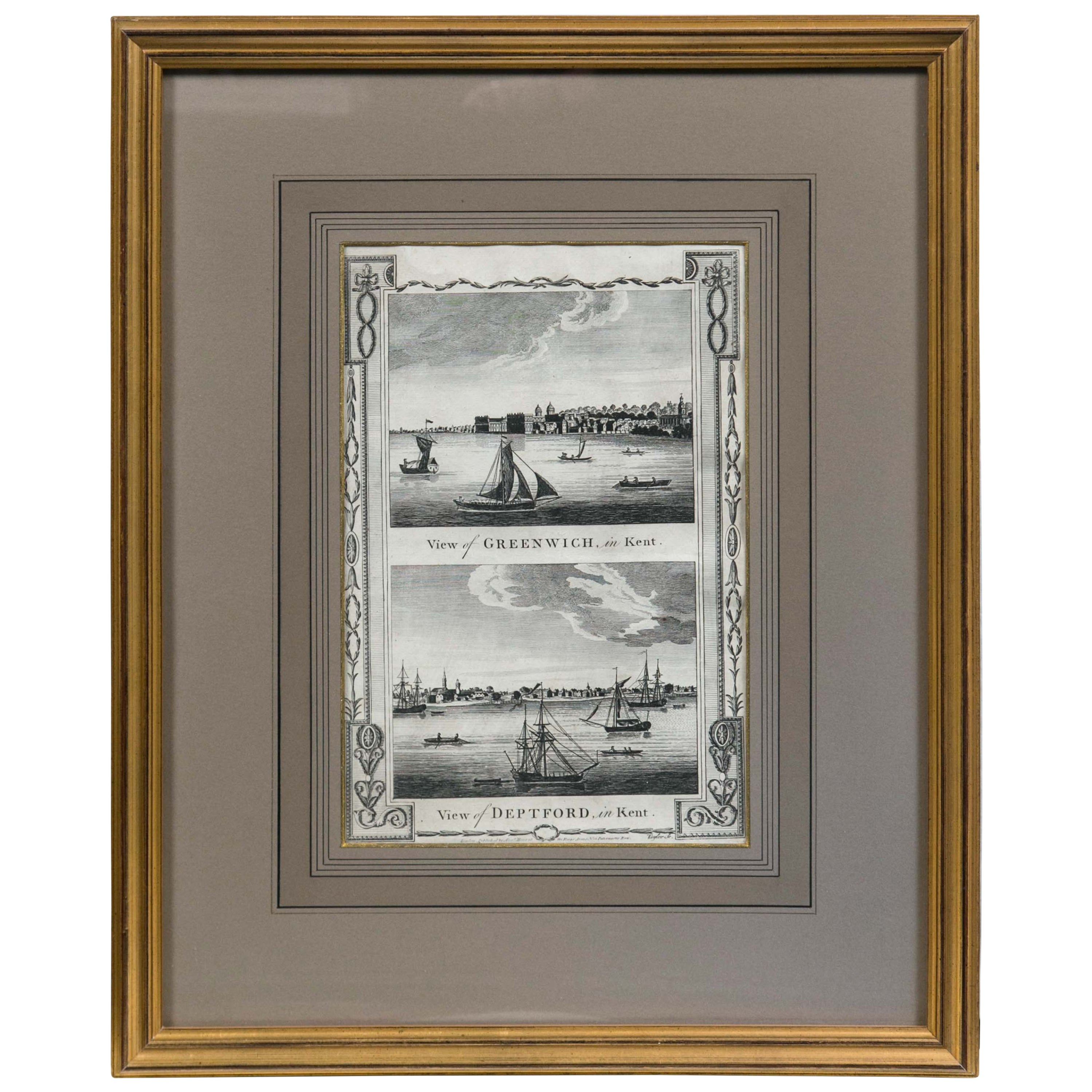 Framed Print, English Harbor Views, Early 19th Century