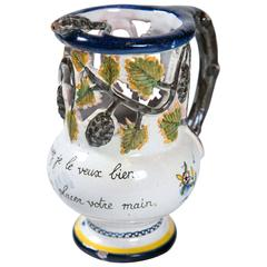 French Faience Puzzle Jug, Late 19th Century