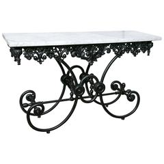 French Marble-Top Iron Baker's Table, Early 20th Century