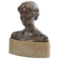 Bronze Bust of a Young Lady, circa 1900 by Bory