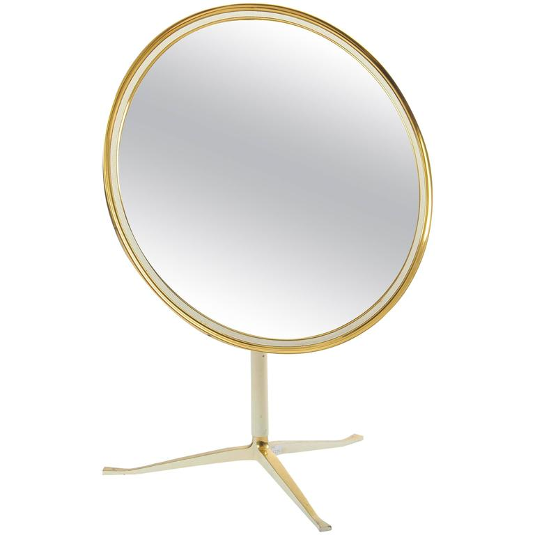 1950th Vanity Table Mirror In Brass And Cream At 1stdibs
