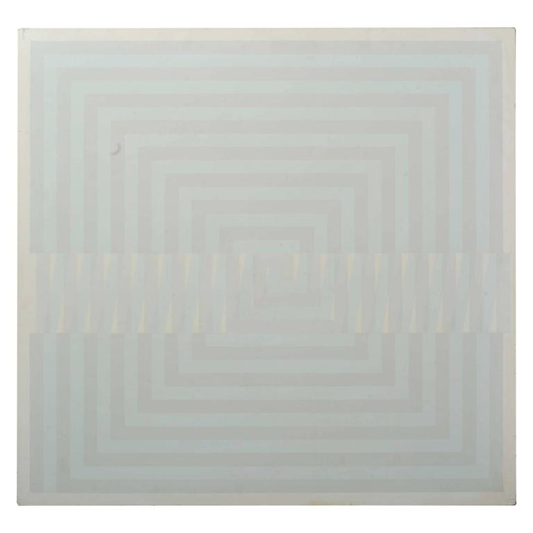 1980's Minimalist Painting in Pastel Tones and White by Majo Joostens