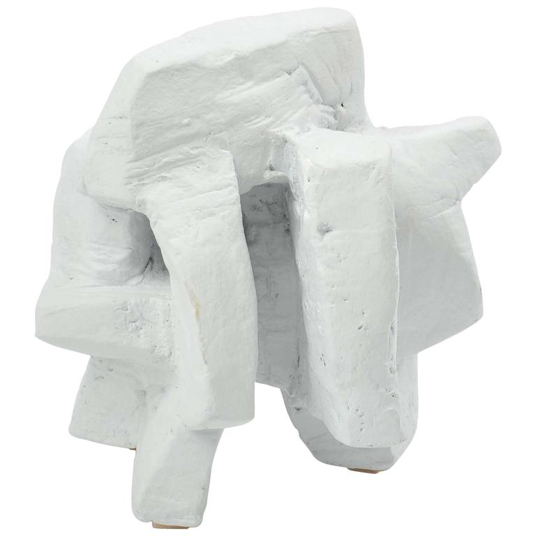 Chalk White Abstract Sculpture by Bryan Blow 3