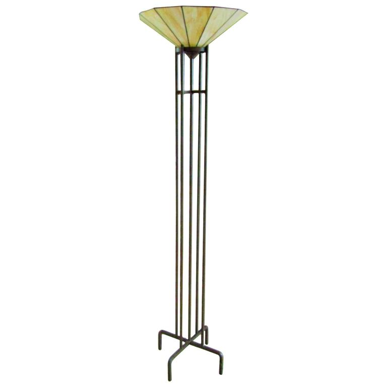 Art Deco Torchiere with Tiffany Style Glass Shade