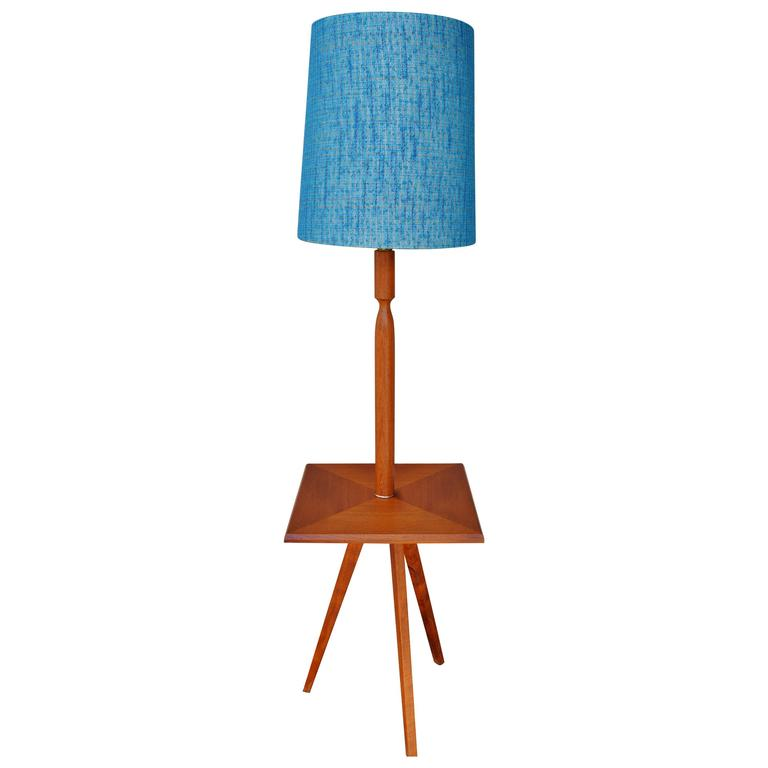 Teak Tripod Floor Lamp With Turquoise Shade And Built In Table For