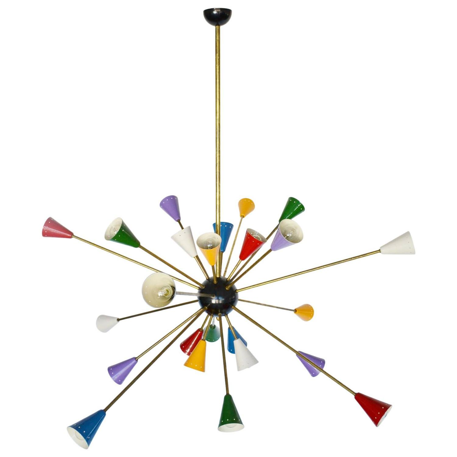 Spectacular Authentic MidCentury Italian MultiColor Sputnik – Color Chandelier
