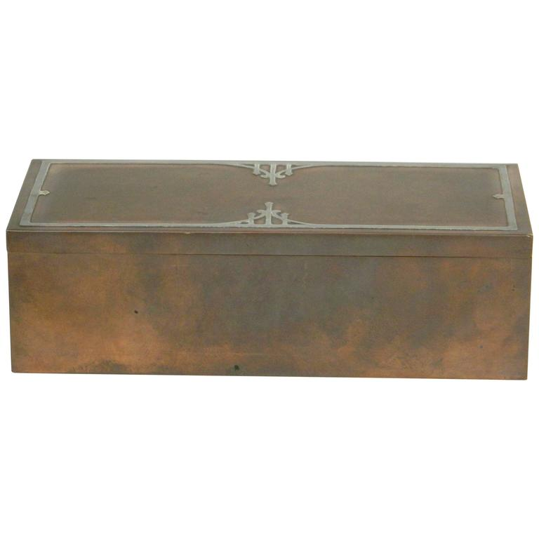 Heintz Bronze Cigar Box with silver inlay