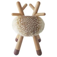 Bambi Chair by Takeshi Sawada for Elements Optimal in Oak, Walnut and Faux Fur