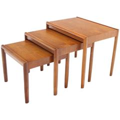 Set of Three Walnut Mid Century Modern Nesting Tables