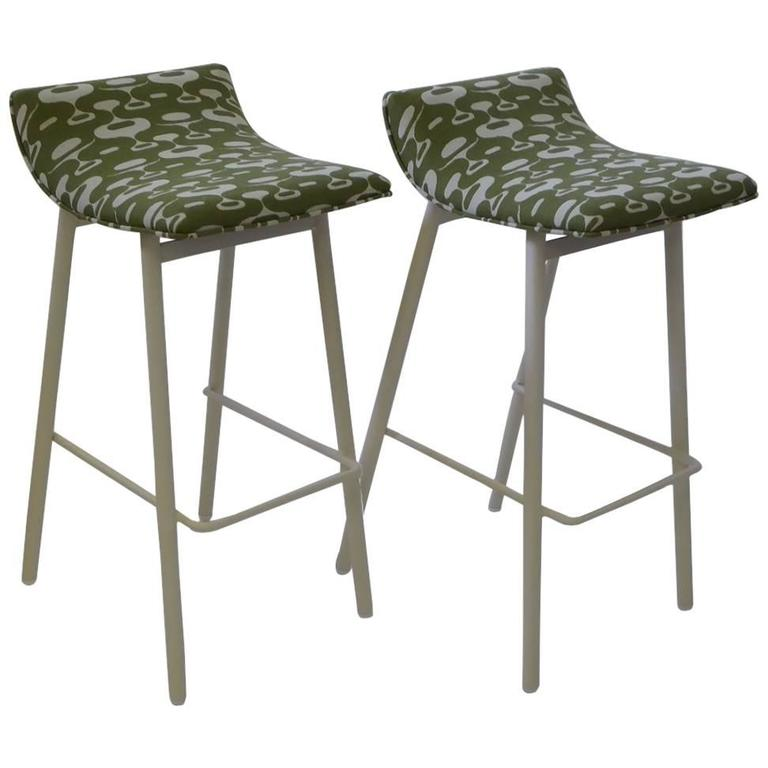 Pair of 1950s MCM Curved Seat Bar Stools For Sale