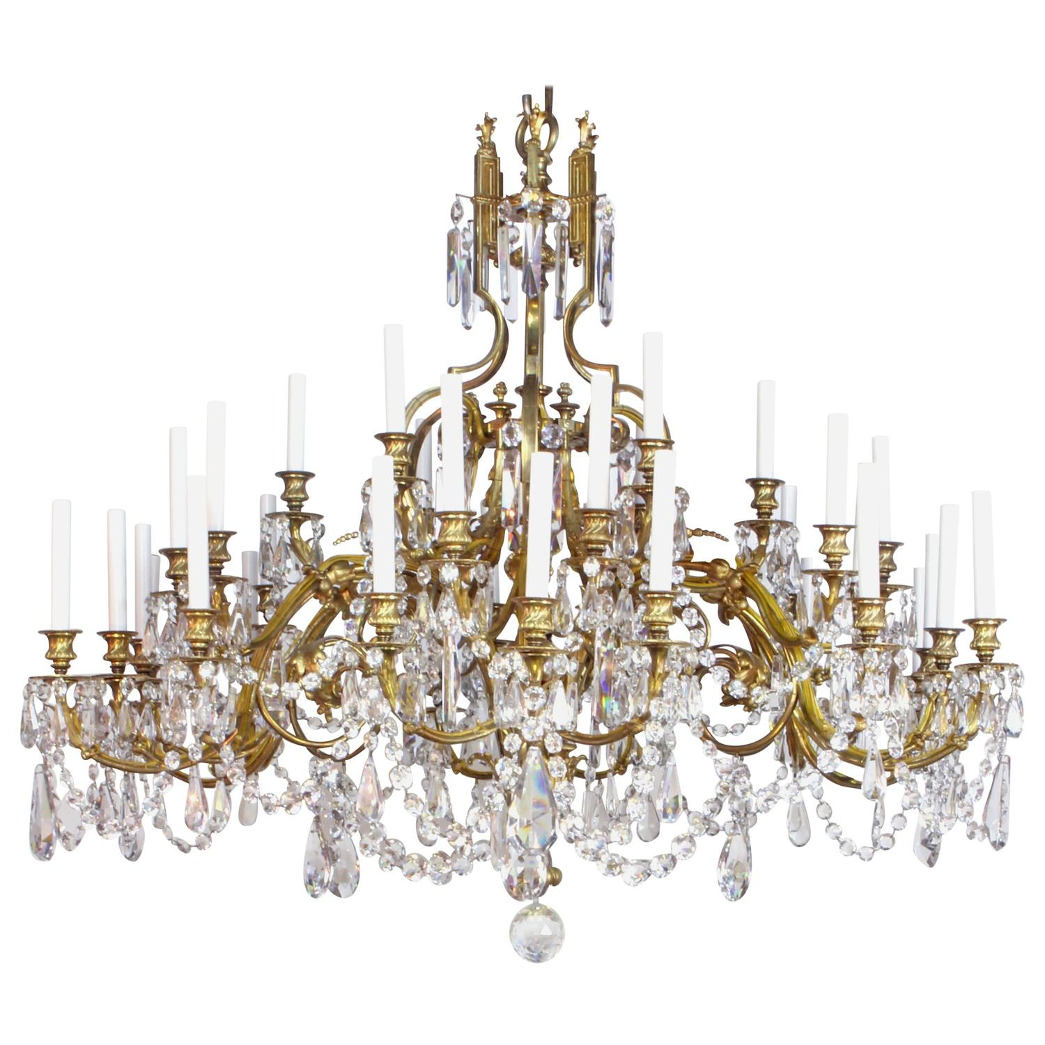 Red Aesthetic Chandelier: 19th Century French Gilt Bronze And Crystal Chandelier For