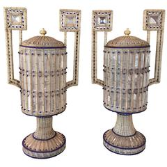 Rare and Beautiful Pair of Venetian Opaque Glass and Beaded Urns
