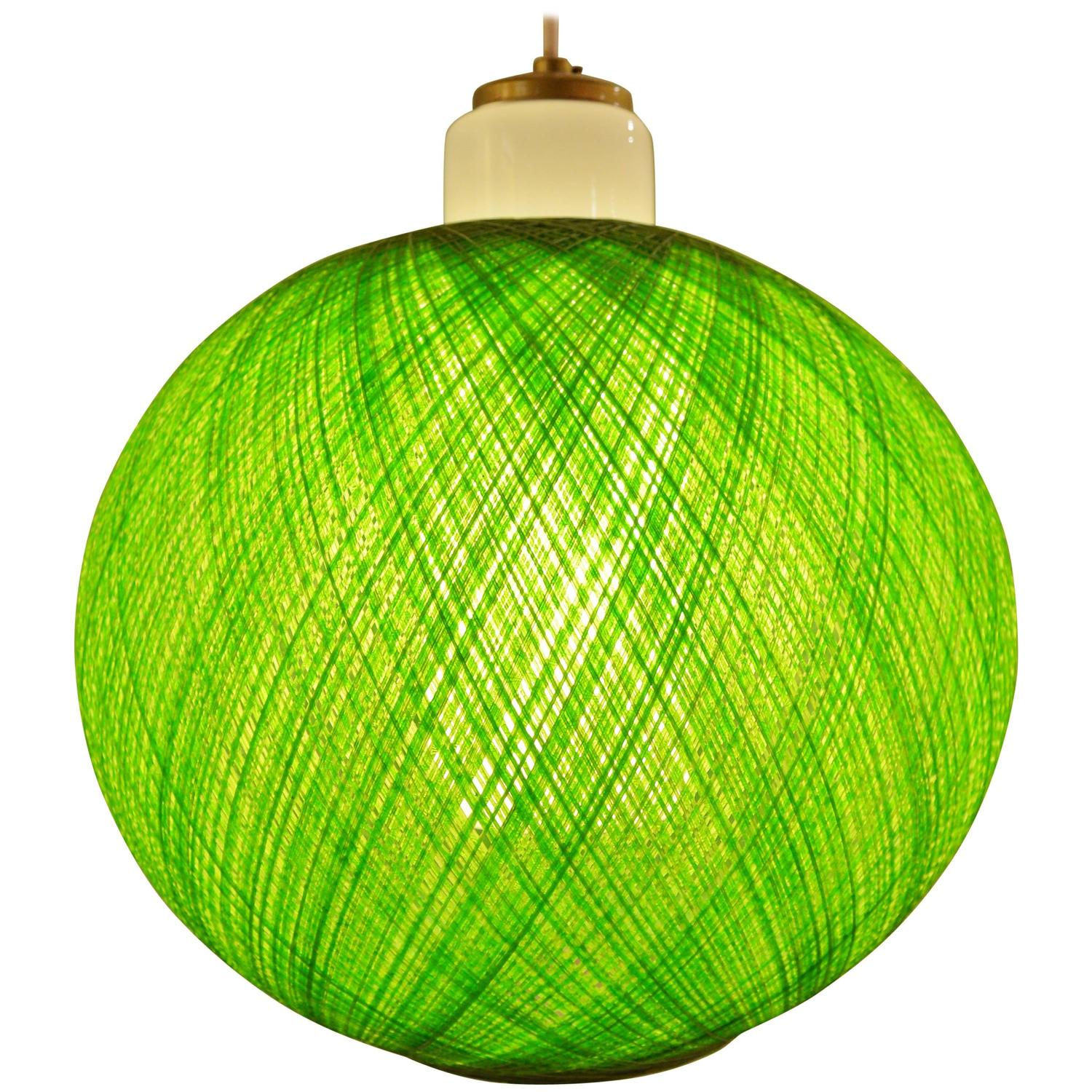 Hot green mcm spun fiberglass and milk glass pendant light at 1stdibs aloadofball Choice Image