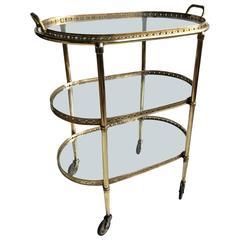Vintage French Brass Star Drinks Trolley/Bar Cart