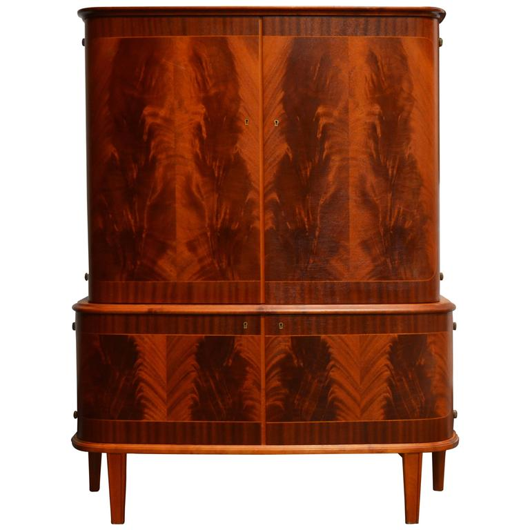 Swedish Art Moderne Mahogany Armoire Storage Cabinet At 1Stdibs
