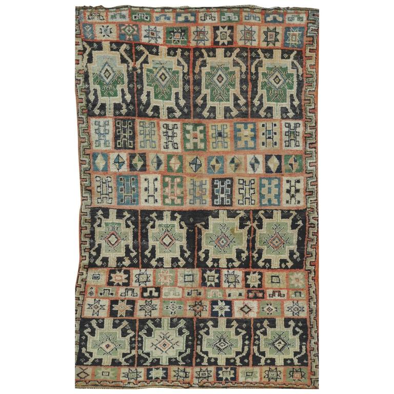 Vintage Hand-Knotted Beni Ourain Moroccan Rug
