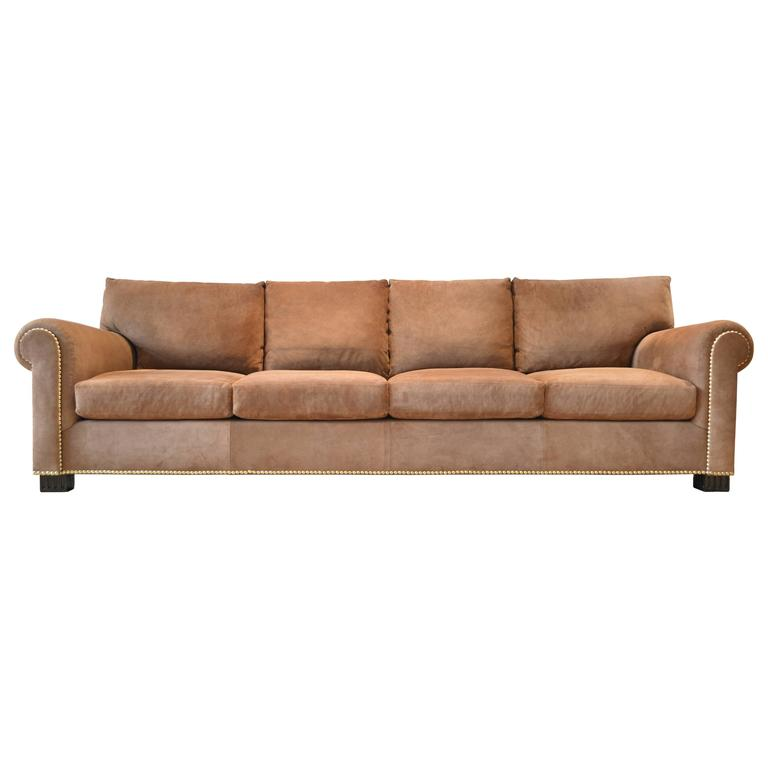 Suede Rolled Arm Sofa by Ralph Lauren