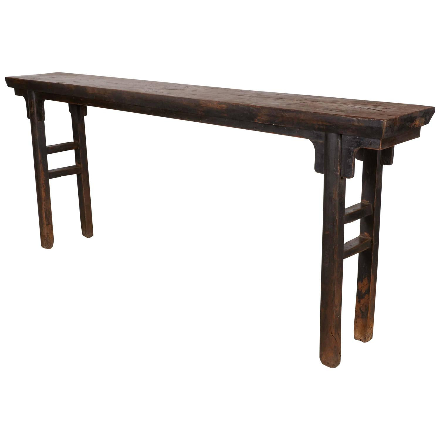 Narrow console with thick elm top at 1stdibs for Very long narrow console table