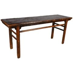 Heavily Lacquered Rustic Antique Painting Table