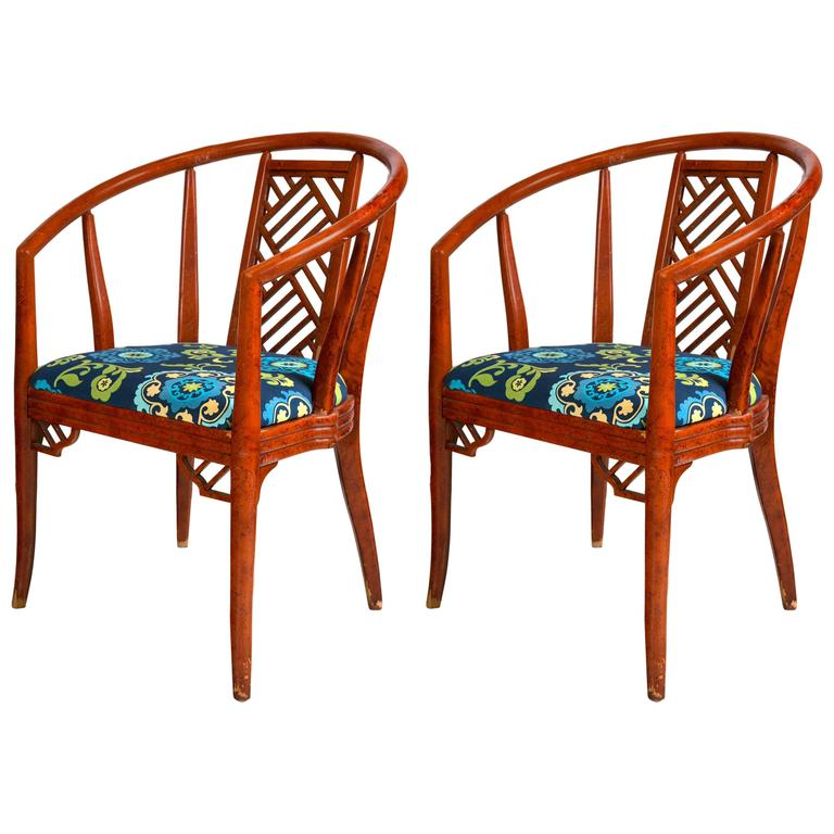 Pair of 1960s Painted Wood Armchairs