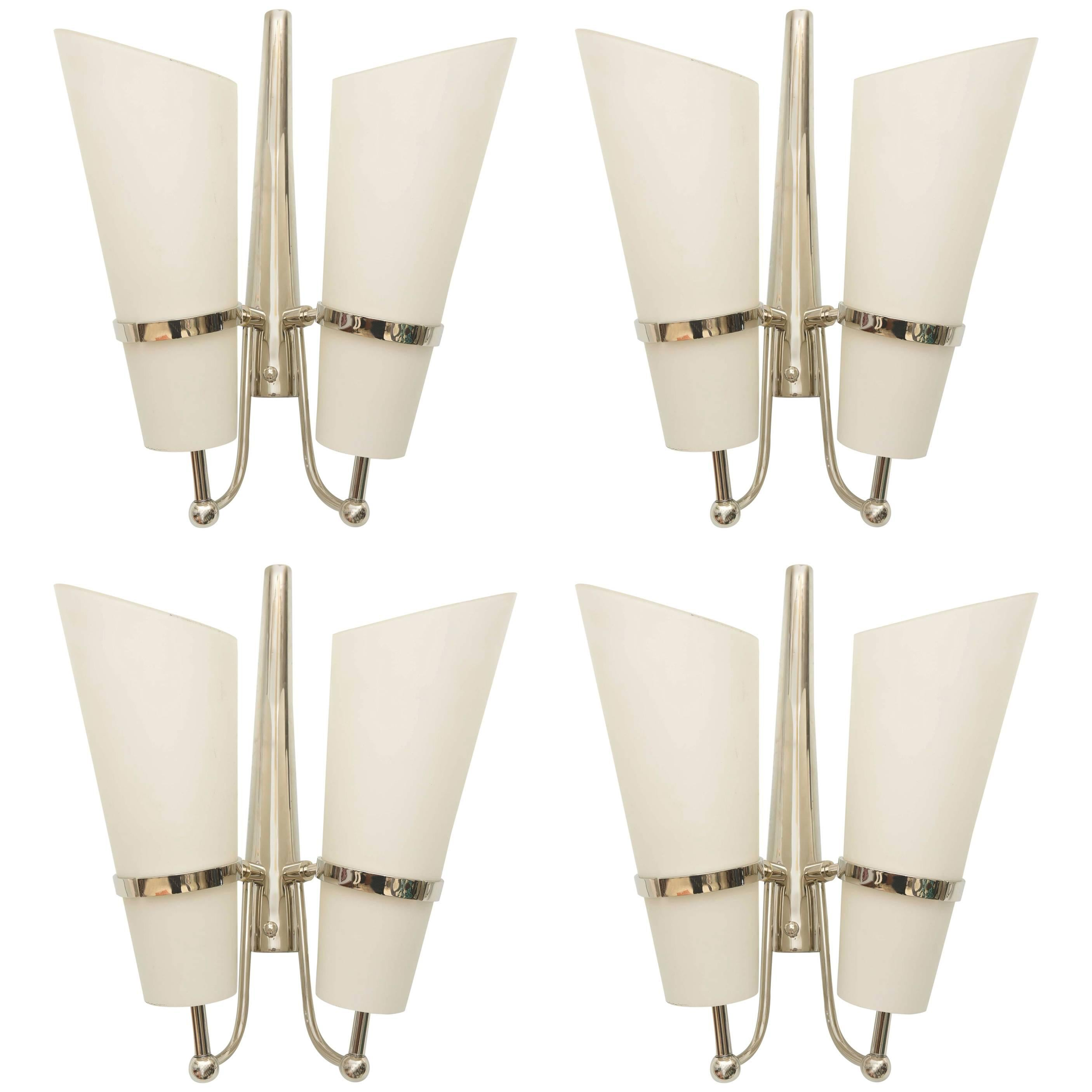 Set of four Italian Modern Nickel and Glass Wall Lights, Attributed to Stilnovo