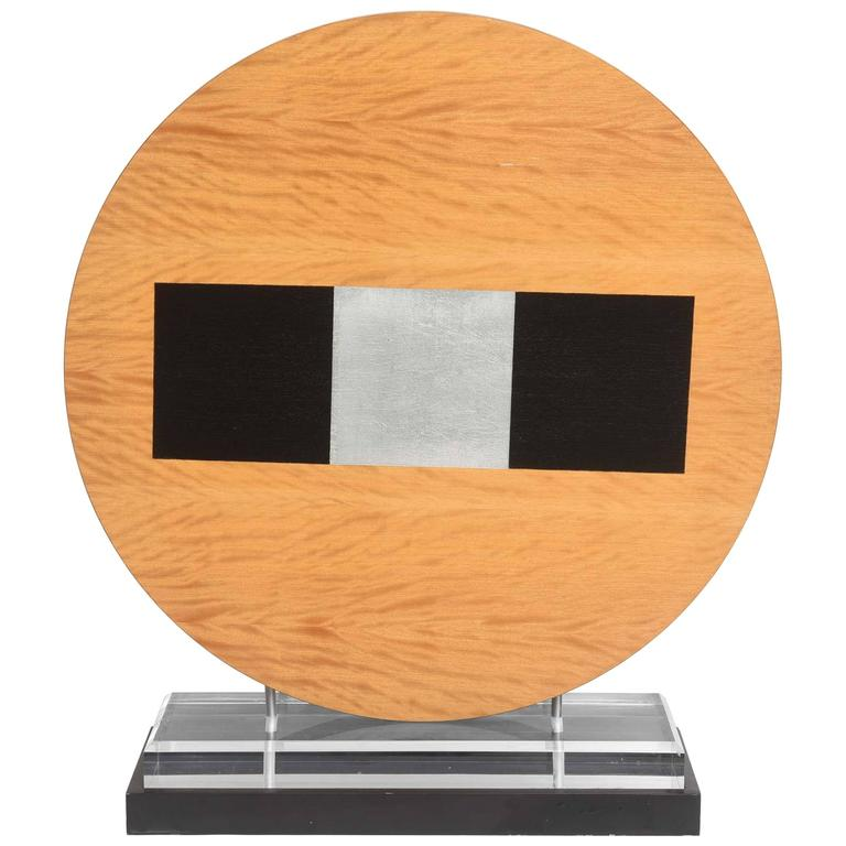 American Wood Sculpture, Mounted on Stand For Sale
