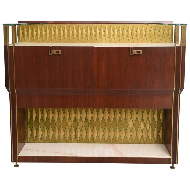 Rare French Modern Mahogany, Bronze and Brass Bar Cabinet, Raphael