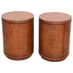 Pair of American Modern Burl Walnut Circular End Tables/Cabinets, Glibert Rohde