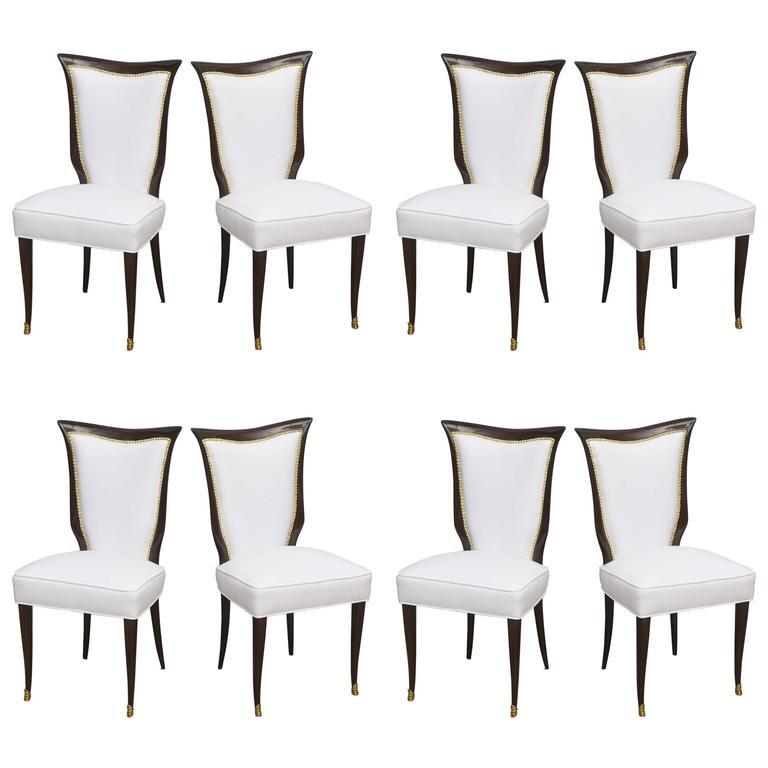 Set of Eight Italian Modern Palisander and Brass Dining Chairs, Osvaldo Borsani