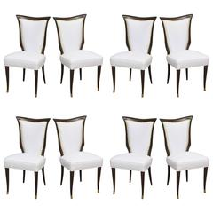 Set of Eight Italian Modern Palisander and Brass Dining Chairs, Osvaldo Borsani