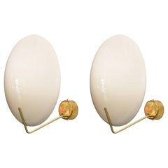 Pair of Italian Modern Brass and Enameled Metal Wall Lights, Stilnovo