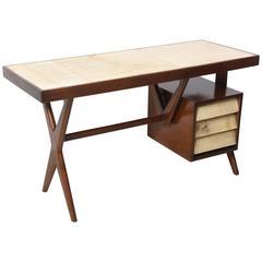 Italia Modern Mahogany and Parchment Desk, Silvio Cavatorta