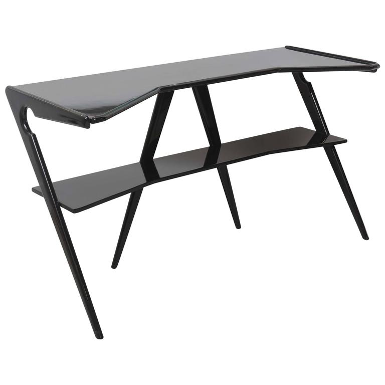 Italian Modern Black Lacquer Console Table, Style of Ico Parisi