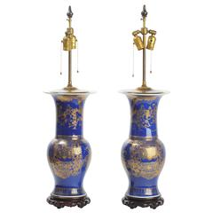 19th Century Chinese Powder Blue Vases or Lamps