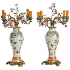 Pair of circa 19th Century Chinese Famille Rose Vases or Candelabra