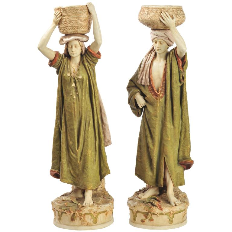 Pair of Large Royal Dux Water Carriers