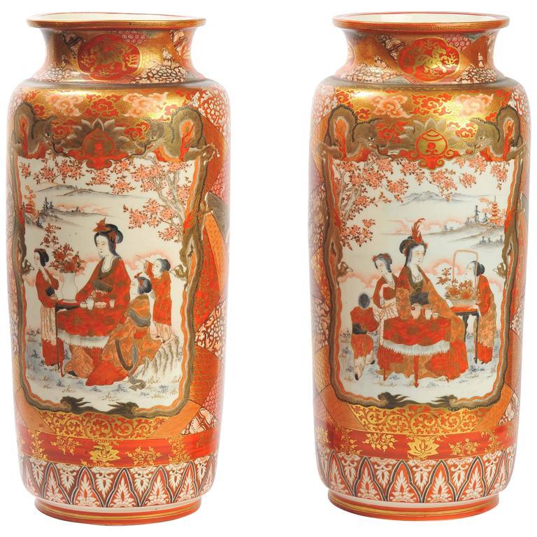 Large Pair Of 19th Century Kutani Vases For Sale At 1stdibs