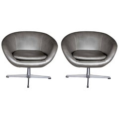 Pair of Metal Base Swivel Chairs