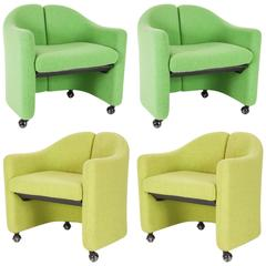 Set of Four Easy Chairs Series 142 by Eugenio Gerli for Tecno