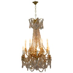 French Empire Gilded Bronze Crystal 12-Arm Chandelier Light Fixture