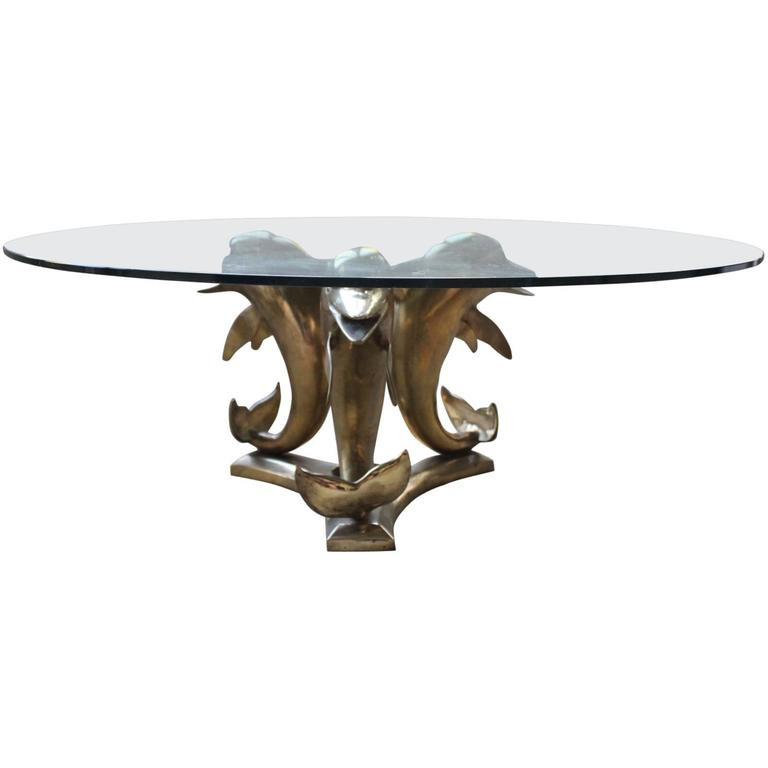 Brass And Glass Dolphin Coffee Table For Sale At 1stdibs